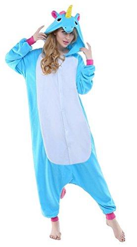 igurumi Licorne Pyjama Adulte Anime pyjamas tenue Onesie Cospaly Fête Flannels Costume Animaux Anime Halloween Onesie Blau l (Cookie Monster Kostüm Halloween)