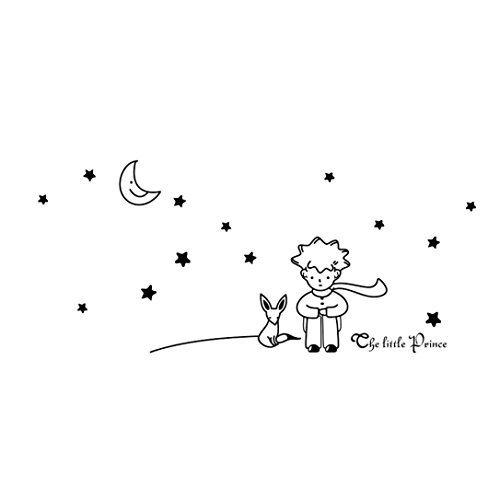 LCsndice Sterne Mond der kleine Prinz Boy Wand Aufkleber Home Decor Baby Zimmer Wandtattoo (schwarz)