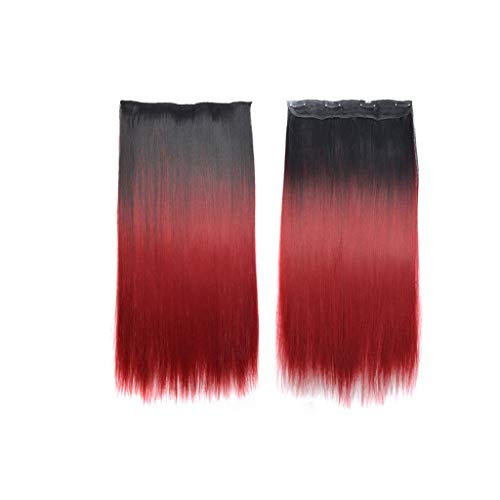Luckhome Synthetische Haare Haarverdichtung Glatt Haarverlängerungen Gerade Haarverlängerung Lange Haarteil Für Mode Sexy Frauen(A) - Synthetische Haarverlängerungen