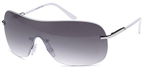 rahmenlose Sonnenbrille mit Monoscheibe + Brillenbeutel - Sonnenbrille mit durchgehender Scheibe (weiss-Gradient)
