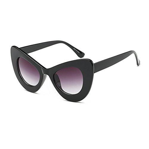 Fuyingda Womens Cat Eye Retro Brillen Oversized Bold Rim Runde Cateye Sonnenbrille