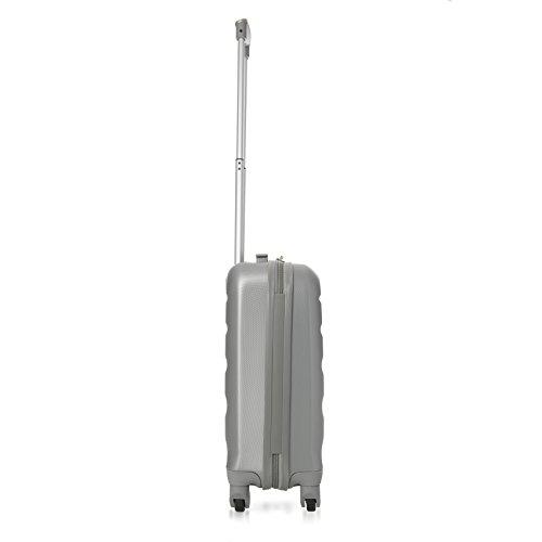 Aerolite Leichtgewicht ABS Hartschale 4 Rollen Handgepäck Trolley Koffer Bordgepäck Kabinentrolley Reisekoffer Gepäck, Genehmigt für Ryanair, easyJet, Lufthansa, Jet2 und viele mehr, Silber - 3