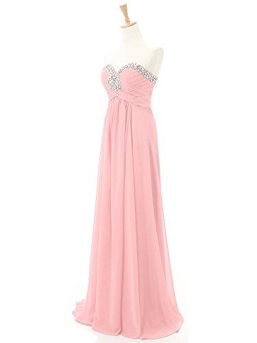 Kmformals Damen Lang Prom Abend Brautjungfer Kleider Formales AbendKleid Rosa