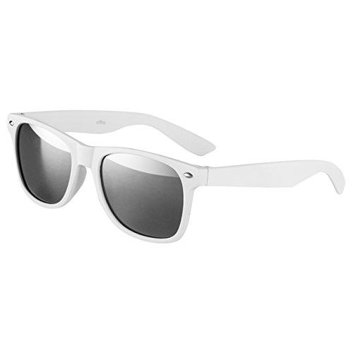 Ciffre Sonnenbrille Nerdbrille Nerd Retro Look Brille Pilotenbrille Vintage Look - ca. 80 verschiedene Modelle Weiß Matt Verspiegelt