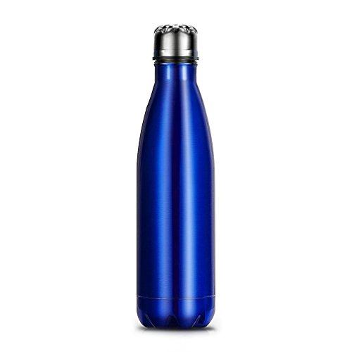 OUTAD 500ml Botella Térmica en Acero Inoxidable Forma de Bolos/Bowling (Azul)