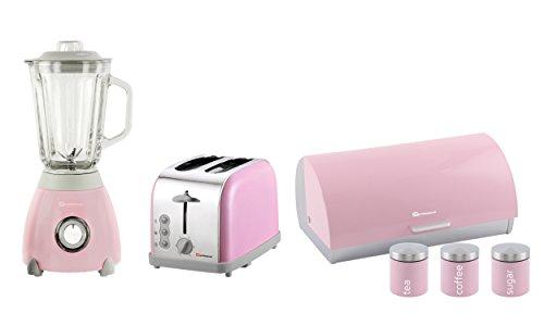 Set Toaster, Standmixer, Brotkasten & 3 Kanister, Edelstahl - Rosa