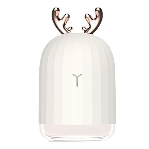 Gosear 220 ML portátil Mini Historieta Linda humidificador difusor de Aire con Cable USB para la Oficina en casa Coche de Yoga Dormitorio apartamento Dormitorio Blanco