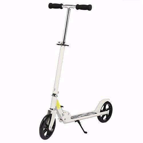 Oldhorse Scooter Tretroller Kinderroller Kinderscooter CityRoller Kick Scooter für Kinder und Erwachsene Klappbar Big Wheel Tretroller Höhe Einstellbare 2 Räder (DE Lager) (weiß)