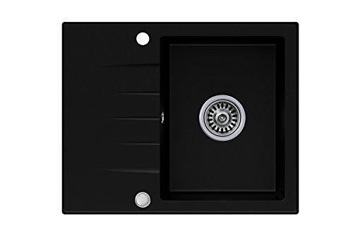Granitspüle schwarz, 1-Becken, Drehexcenter + Siphon, Spülbecken, Küchenspüle, Schrankbreite ab 45 cm