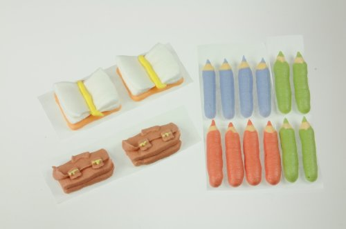 Schulset Zucker-Aufleger / 2 Schulranzen+2 Bücher+12 Stifte