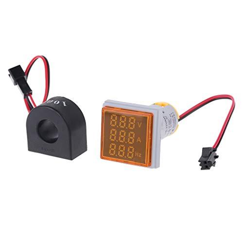 ZChun Digital 3 in 1 AC Amperemeter Voltmeter Hz Aktueller Frequenzmesser Quadratische Signalleuchte 22 mm Digital Voltage Amp Hz Led-lampen-anzeige mit CT (Gelb) - Gelbe Anzeige-lampe