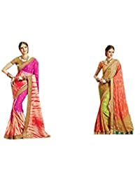 Mantra Fashions Women's Georgette Saree (Mant28_Multi)-Pack of 2