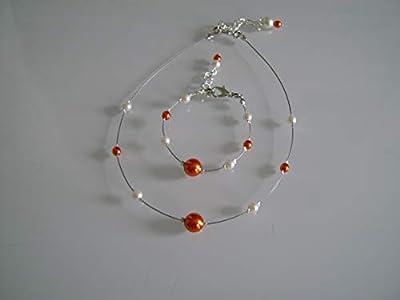 Parure Orange Blanc Ivoire enfant fille femme (dispo grande taille) bijoux Collier bracelet perle verre Mariée Mariage Soirée Cérémonie Cocktail (pas cher, petit prix)