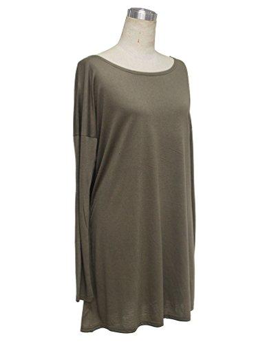 ... NiSeng Damen Pullover Einfarbig Rundhals Langarm Oberteile Strick  Longshirt Oversized Tunika Top Minikleid Armeegrün ... ebb153ef50