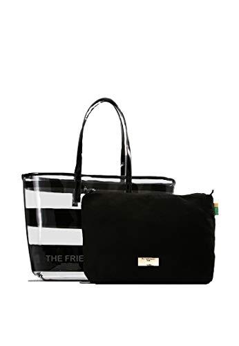 The Friendly Student Damen Handtasche. Durchsichtige Tasche mit Innentasche aus Velour. Bibliothek Tasche für Studenten. Große schwarze Laptoptasche und Reise Organizer. 2in1 Bib bag als Uni tasche.