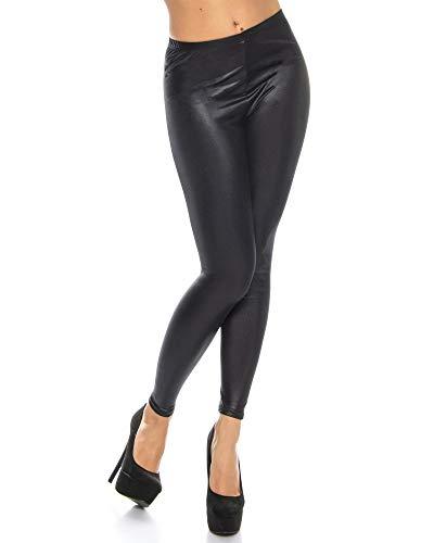 Kendindza Damen Lack-Optik Leggings | Blickdicht | elastisch High-Waist (Schwarz, M)