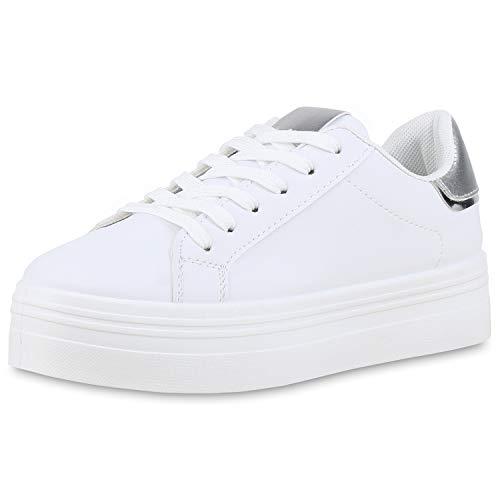 SCARPE VITA Damen Plateau Sneaker Turnschuhe Schnürer Metallic Plateauschuhe 174347 Weiss Silber 37 Coole Sneaker