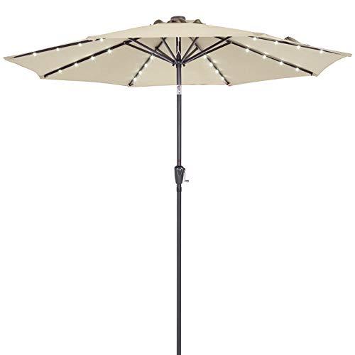Deuba Sonnenschirm Alu 24 LED Solar Ø 270cm Neigefunktion beige - Kurbelsonnenschirm Gartenschirm Ampelschirm