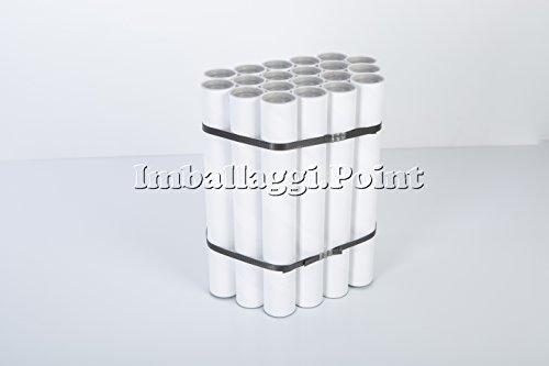 IMBALLAGGI.POINT - 20 pezzi TUBI CARTONE con TAPPO PLASTICA SPEDIZIONI POSTALI ALTEZZA 240mm x 40mm DIAMETRO BIANCHI FORMATO A4 POSTER