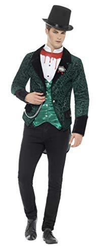 Smiffys Herren Deluxe Viktorianischer Vampir Kostüm, Jacke mit Hemd und Brosche, Größe: XL, ()