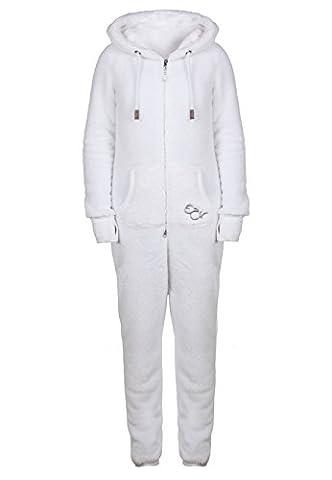 EIGHT2NINE Damen Jumpsuit aus kuscheligem Teddy Fleece | Overall | Ganzkörperanzug mit Ohren white L/XL