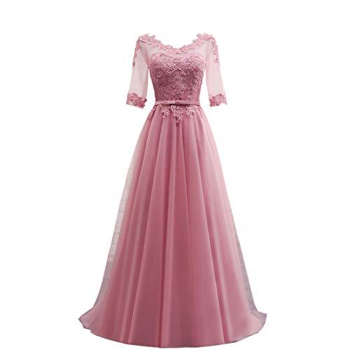 Brautkleider Elegant V-Ausschnitt Lang Abendkleider Ballkleider A-Linie 1/2 Ärme...