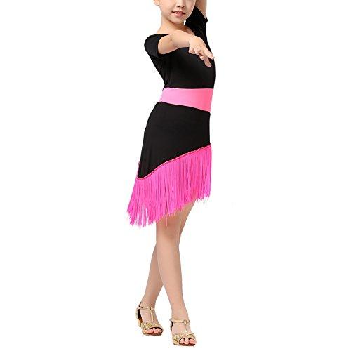ESHOO Kinder Mädchen Tassel Kleid Latein Salsa Dancewear (Kostüme Latein Gesellschaftstanz)