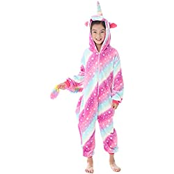 "Dolamen Niños Unisexo Onesies Kigurumi Pijamas, Niña Traje Disfraz Animal Pyjamas, Ropa de Dormir Halloween Cosplay Navidad Animales de Vestuario (120-130CM (47""-51""), Purplestar)"