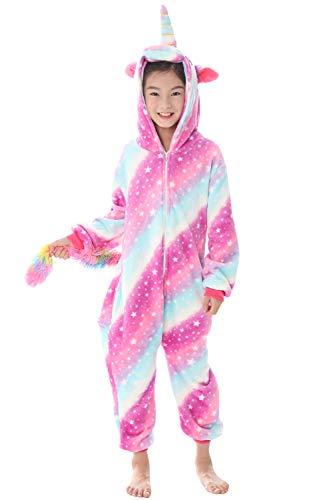 Dolamen bambini unisex kigurumi pigiama onesie, ragazza ragazzo anime cosplay halloween natale party costume attrezzatura sleepwear (130-140cm (51