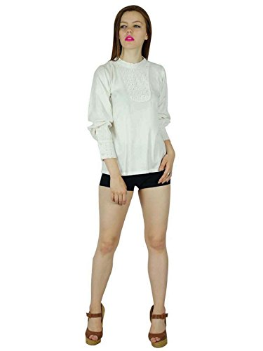 Bimba Blancs Rayonne Courte Top Blouse À Manches Longues Confortable Douce Blanc