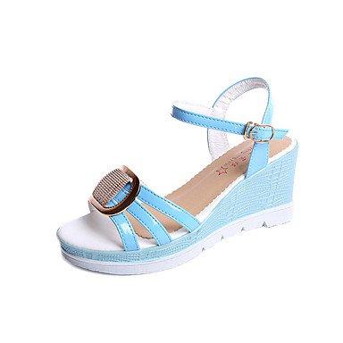 RUGAI-UE Sommer Mode Frauen Sandalen Schuhe Casual PU Komfort Fersen, weiß, EU/US8.5 39/UK6.5/CN 40 Blue