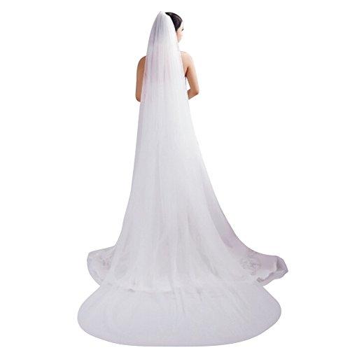 3m Brautschleier Wedding veil weich Beige weiß mit kamm Extra lang One Size Schleier Hochzeit 2 Schicht für Braut Frauen Hochzeit in Kathedrale Hochzeitsschleier schön Elegant passendes Brautkleid