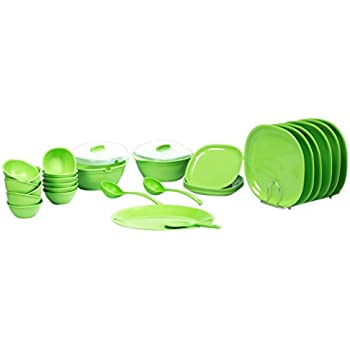 Signoraware Square Dinner Set, 31-Pieces, Parrot Green