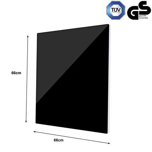 GD350 Infrarot Glas-Heizkörper Glaspaneel Heizer  Badezimmer 66x66cm Schwarz Bild 6*
