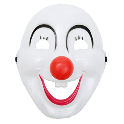 DFHJSXDFRGHXFGH-DE Clown Maske Halloween Kostüm Ball Performance Supplies Requisiten Männer und Frauen sind lustige Clown Maske Cute Plastic Clown Mask weiß - Human Pet Kostüm