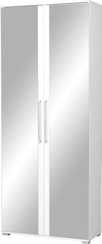 Germania Schuhschrank 3107-84 in Weiß, mit Spiegeltüren, 80 x 197 x 34 cm (BxHxT)