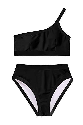 Damen Vintage Eine Schulter Hohe Taille Bikini Set Schwarz M -