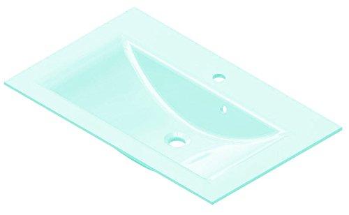 FACKELMANN Glasbecken / Waschtisch aus Glas / Maße (B x H x T): ca. 80 x 14,5 x 50 cm / Einbauwaschbecken / hochwertiges Waschbecken fürs Badezimmer und WC / Farbe: Mintgrün / Breite: 80 cm