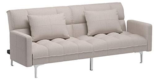 HOMCOM Schlafsofa Schlafcouch Klappsofa Sofa 3-Sitzer mit Kissen, Leinen+Holzgestell, Grau, B195xT85xH76cm