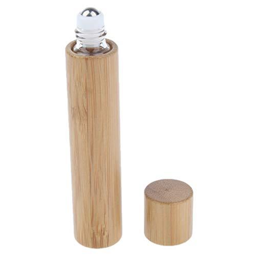 IPOTCH Klein Leer Bambus Glasflaschen Ätherisches Öl Flaschen Rollenkugel Glasflaschen mit Ball - 10 ML