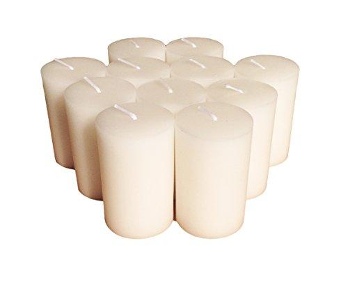 Collumino candele pilastro, tinta unita, dimensioni 7x 4.3cm, white, 12 pezzi