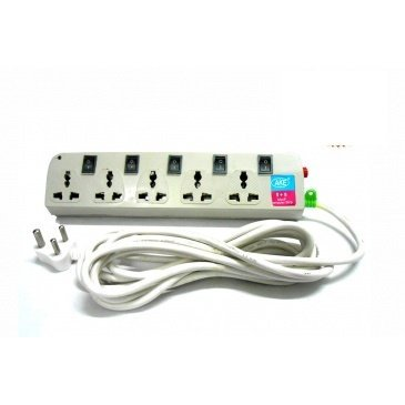 ElectroBee™ 5 Way 5 Amp Outlets Extension Lead with individual Switch Extension Socket Power Strip Power Board Plug (1.5 Meter).  available at amazon for Rs.399