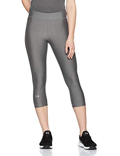 Under armour, heatgear armour capri, leggings, donna, grigio (charcoal light heather/charcoal light heather/metallic silver 019), m