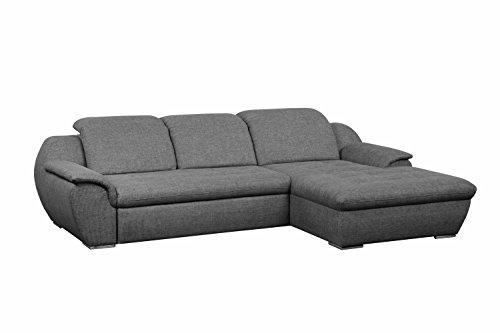 Cavadore Ecksofa Clancy mit XL Longchair und  Kopfteilverstellung / Eck-Couch grau mit verstellbaren Kopfstützen und pflegeleichtem Strukturstoff /...