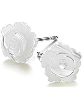 Rosen Ohrstecker Weiß 925 Sterling Silber Ohrringe - Blumen Ohrschmuck für Damen