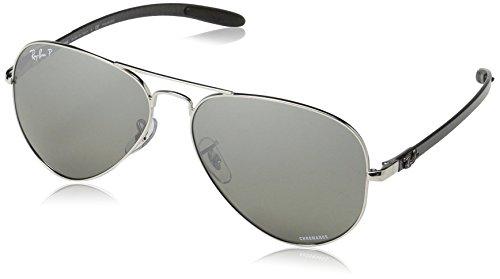 RAYBAN JUNIOR Herren Sonnenbrille RB8317 Chromance, Shiny Silver/Greymirgreygradientpolar, 58