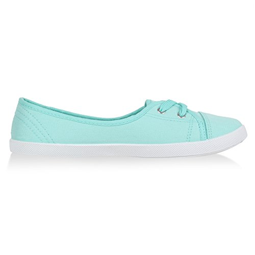 Klassische Damen Ballerinas | Sportliche Stoffschuhe | Slipper Flats | Sneakers Slip-ons | viele Farben Hellgrün