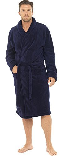 Mens Coral Super Fleece Warm Gowns Bath Robe Housecoat, Marine, XL