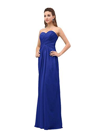 Dresstells, A-ligne robe de soirée robe de demoiselle d'honneur longueur ras du sol en mousseline de soie Bleu Saphir