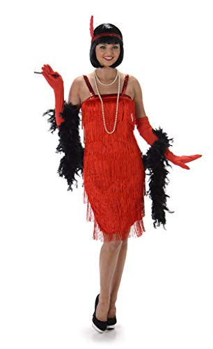 Red Flapper Dress Costume for Ladies with Headband and Long Gloves. Sizes S, M, L, XL
